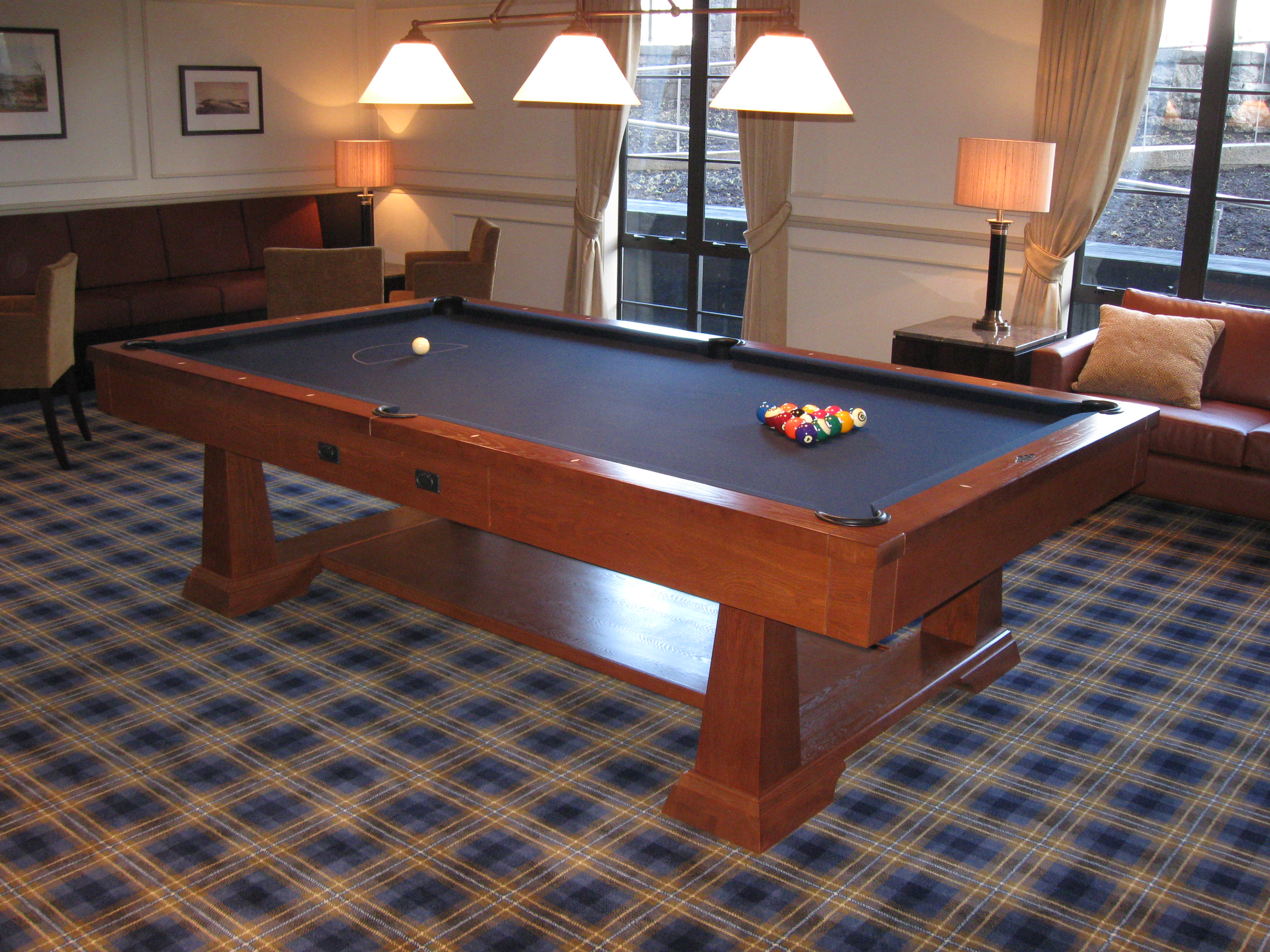 Artisan Designs Pool Table artisan designs pool table Distinct Flared Legs Anchor This Table And The Oak Finish Features Unique Fly Specking And Cow Tailing Detail Including New Premium Player Accessory